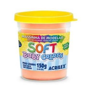 Massa de modelar Salmão - Acrilex Soft - Baby Colors - 150g