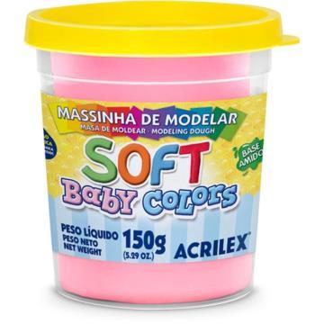 Massa de modelar Rosa - Acrilex Soft - Baby Colors - 150g