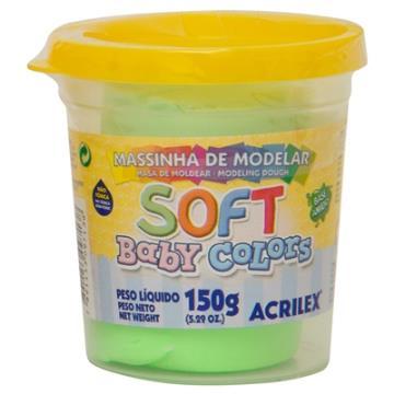 Massa de modelar Verde - Acrilex Soft - Baby Colors - 150g