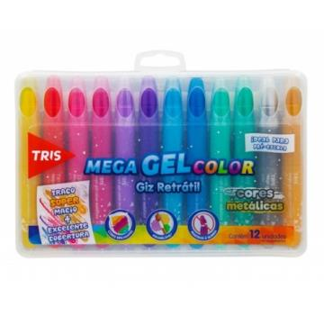 GIZ MEGA GEL COLOR RETRATIL 12 CORES metálicas TRIS