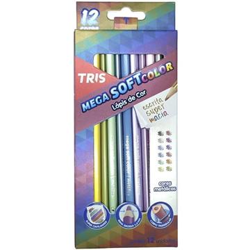 Lápis de Cor TRIS metálico Mega soft color 12 cores
