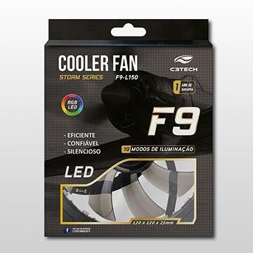 COOLER 120MM FAN F9-L150RGB STORM 12CM 18 LED C3TECH (F9-L150RGB)