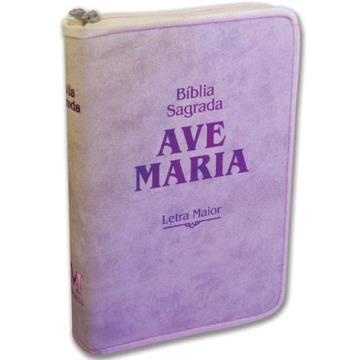 Bíblia letra maior com zíper rosa - 615860