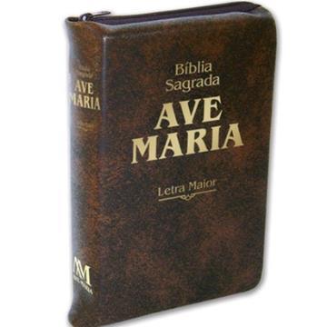 Bíblia letra maior com zíper marrom - 615853