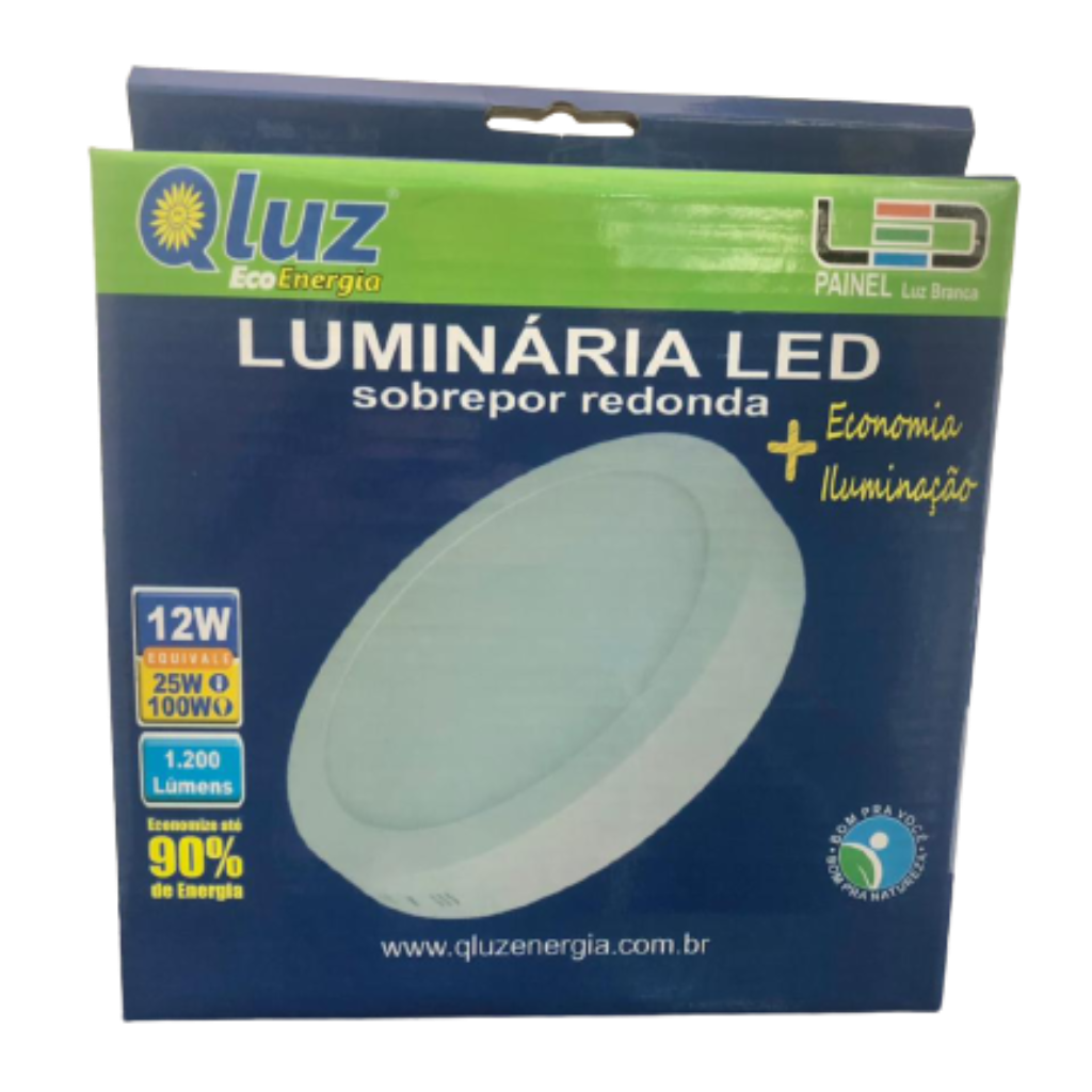 Luminária LED soprepor redonda 12W Qluz