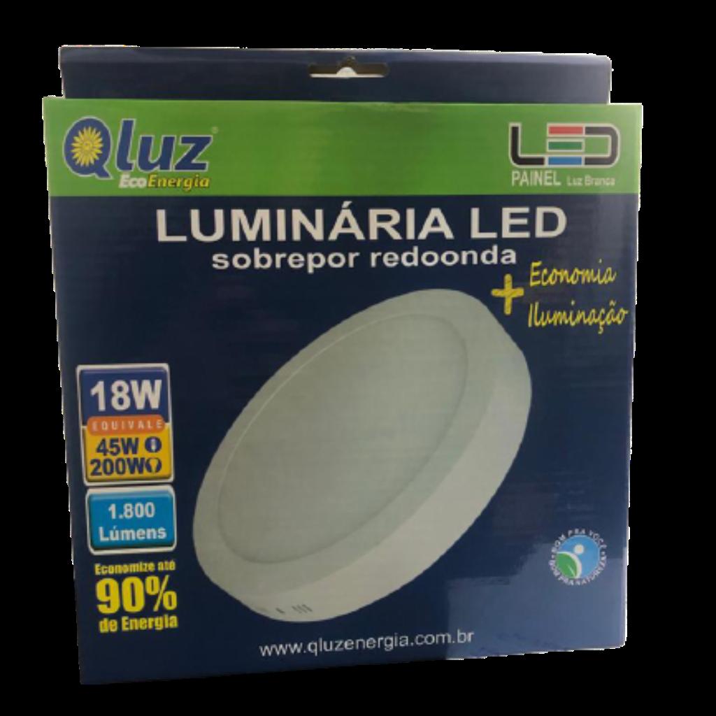 Luminária LED soprepor redonda 18W Qluz