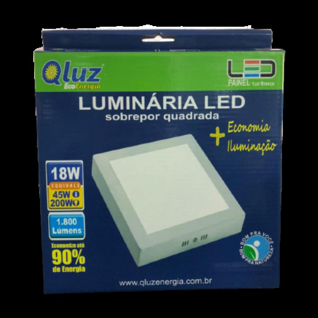 Luminária LED sobrepor quadrada 18W Qluz