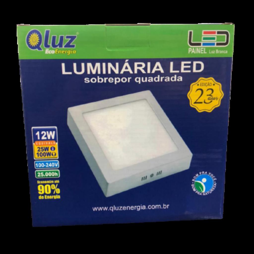 Luminária LED sobrepor quadrada 12W Qluz