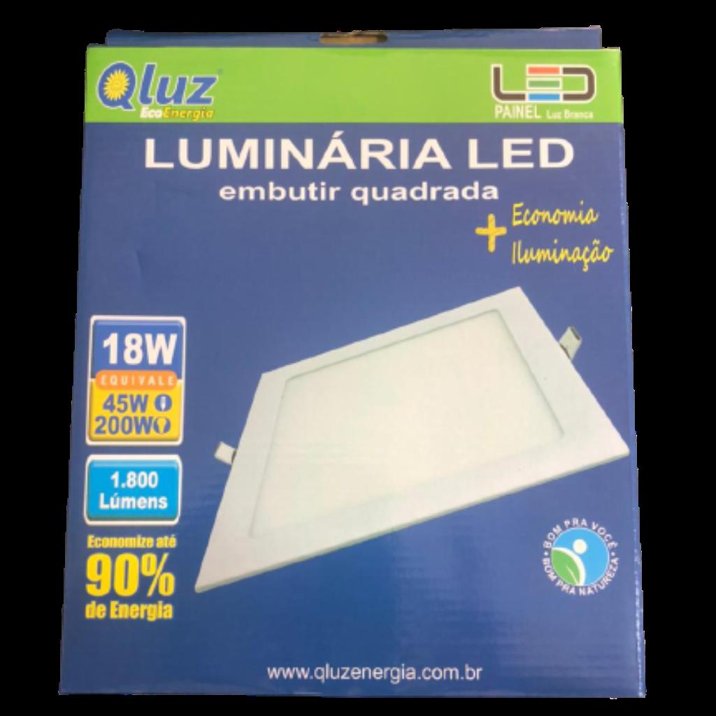Luminária LED embutir quadrada 18W Qluz