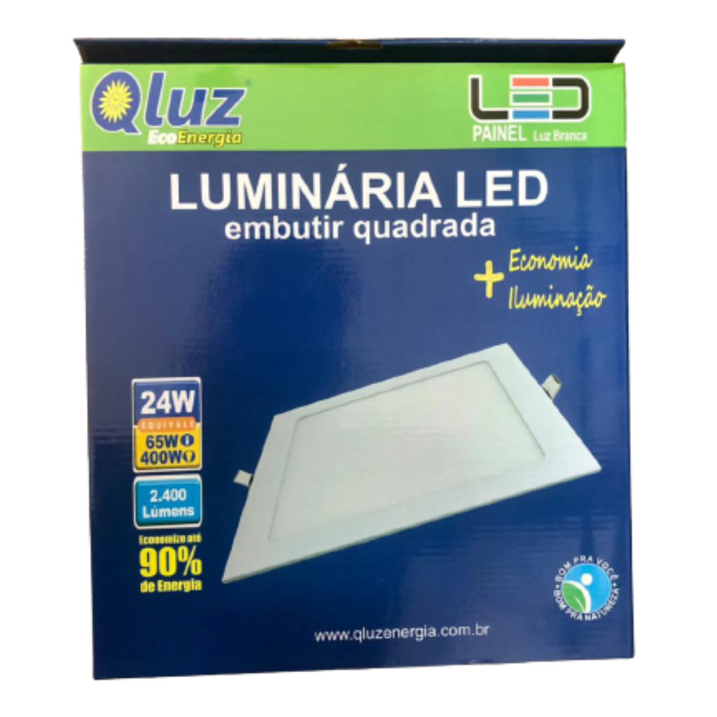 Luminária LED embutir quadrada 24W Qluz