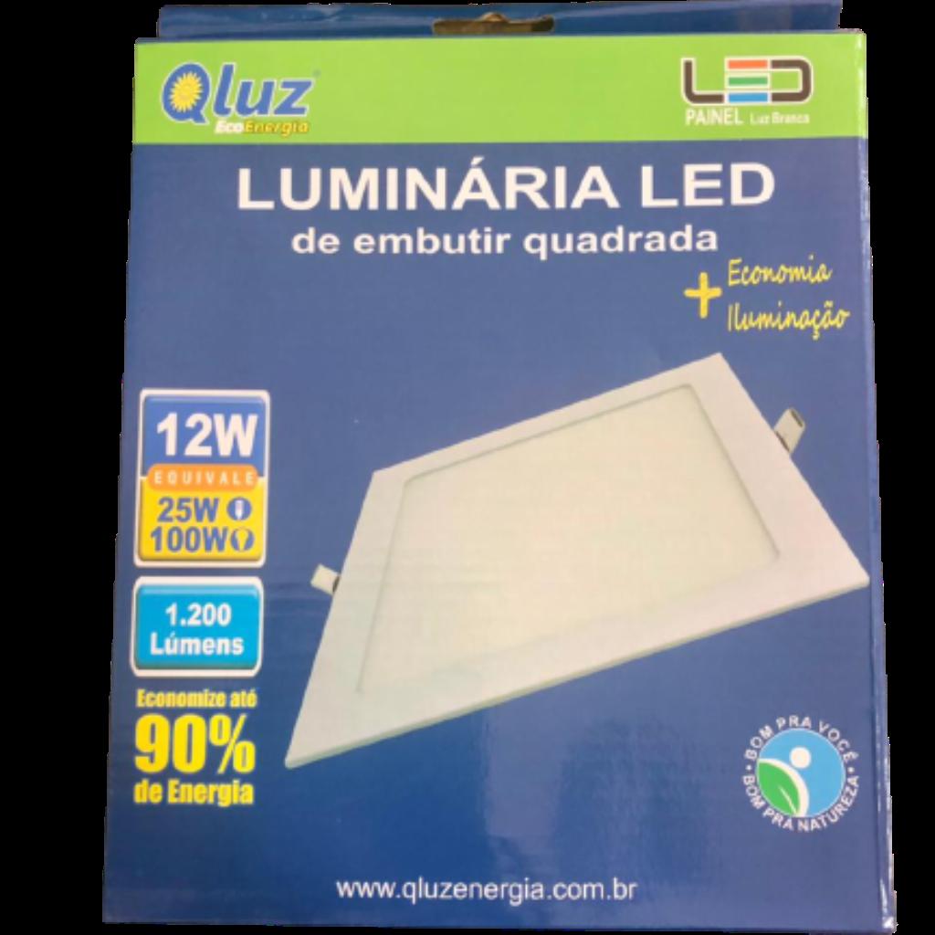 Luminária LED embutir quadrada 12W Qluz