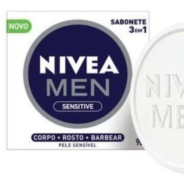 380975 Sabonete Barra 3 em 1 Sensitive Men Nivea 90g