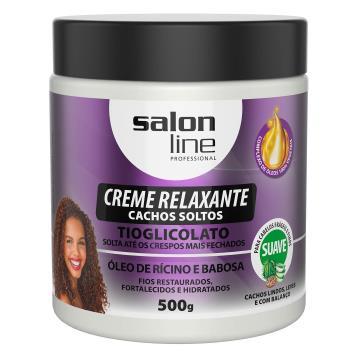 953772 Creme Relaxante Cachos Soltos Tioglicolato Óleo de Rícino e Babosa Salon Line 500g
