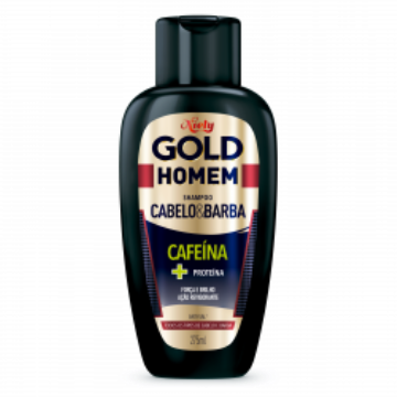 713940 Shampoo Homem Cabelo e Barba Cafeína + Proteína Niely Gold 275ml