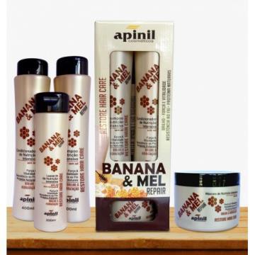 349402 Kit Capilar Reparador Banana & Mel Apinil 4 Itens
