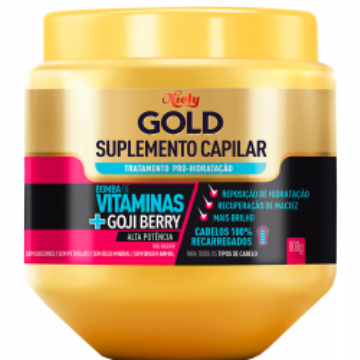 182911 Suplemento Capilar Pró-Hidratação Bomba de Vitaminas + Goji Berry Niely Gold 800g