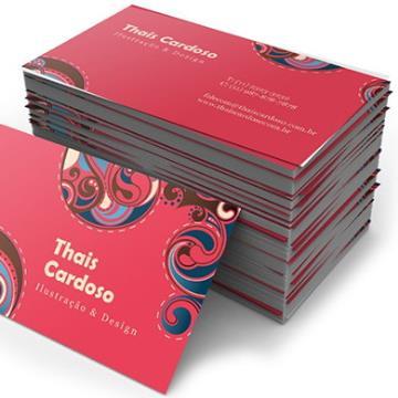 500 Cartões - com Arte Final - 4/1 - 9x5 cm - Couchê 300 G/m² -  UV Total Frente 1/0