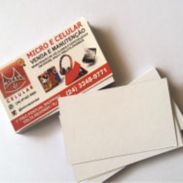 1000 Cartões - 4/0 - 9x5 cm -  Couchê 300 G/m²  - UV Total  Frente 1/0