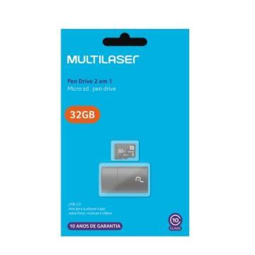 Cartão MicroSD 32GB Multilaser Classe 10 MC163 c/Adaptador USB