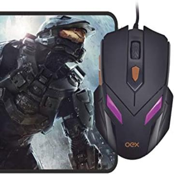 Mouse OEX Combo War MC100 2400Dpi 7 Cores de Led + Mousepad
