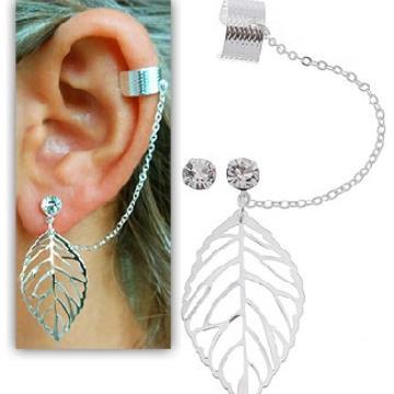 Brinco EAR CUFF folheado a prata c/ adereço em forma de folha
