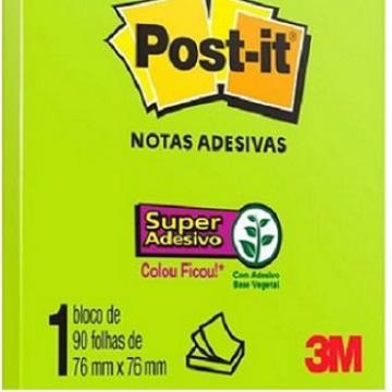 Post it Bloco Adesivo 654 90fls - 76mmx76mm Verde Neon - Und