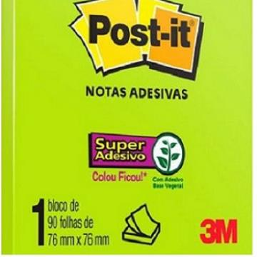 Kit C/14 Post-it Refil Porta Notas Adesivas Verde Neon - 76mmx76mm