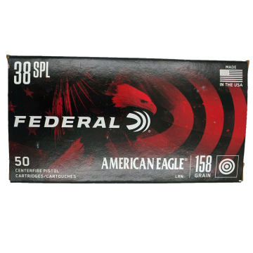MUNICAO FEDERAL .38 SPL 158GR AMERICAN EAGLE LEAD ROUND NOSE - AE38B