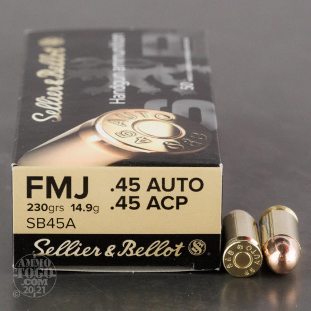 MUNIÇÃO SELLIER & BELLOT .45 AUTO FMJ 230GR