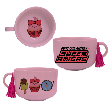 Conjunto com 03 Canecas Consumê para Sopa - Super Amigas