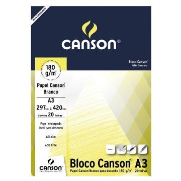 BLOCO DE PAPEL CANSON A3 BRANCO PARA DESENHO 180GR