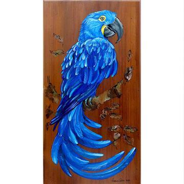 Arara-azul - arte em madeira Bio & Mãe Terra