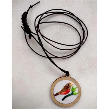 Sabiá-laranjeira - pingente bordado Pássaros Caparaó