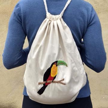 Tucano-de-bico-verde - Mochila Grande de Pano - Pássaros Caparaó