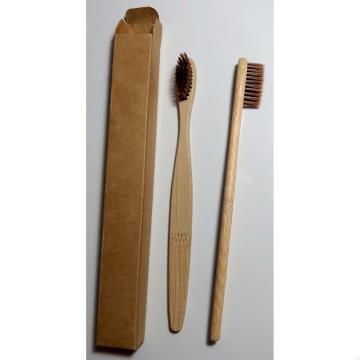 Escova dental biodegradável haste de bambu - MARROM