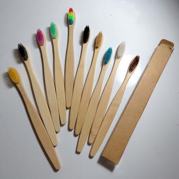 Escova dental biodegradável haste de bambu - Kit 10 unidades
