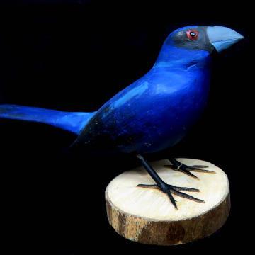 Azulão - Miniatura em madeira Valdeir José
