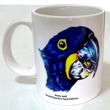 Arara-Azul - caneca de porcelana