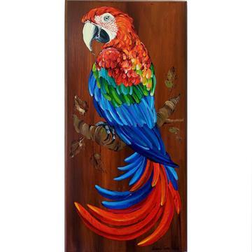 Arara-vermelha 2 - arte em madeira Bio & Mãe Terra