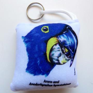 Arara-Azul - chaveiro de tecido