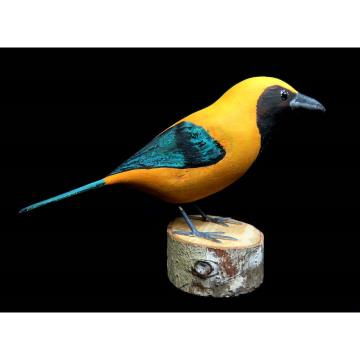 Saíra-amarela - Miniatura em madeira Valdeir José