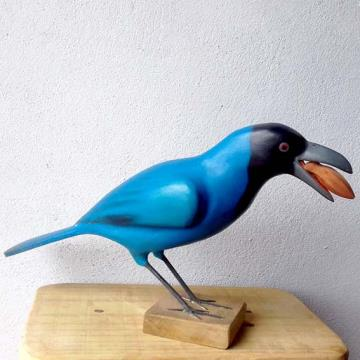 Gralha-azul - Miniatura madeira Valdeir José