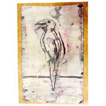 Pássaro-preto - Cartão Artesanal - BATIK