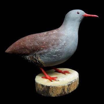 Inhambu-chororó - Miniatura em madeira Valdeir José