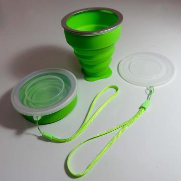 Copo de silicone retrátil - aro metálico - 200ml - VERDE