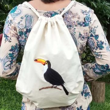 Tucanuçu - Mochila Grande de Pano - Pássaros Caparaó