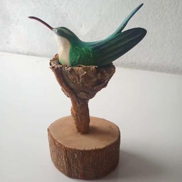 Besourinho-de-bico-vermelho ninho - Miniatura madeira Valdeir José