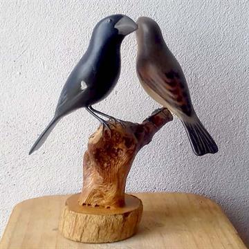 Bicudo casal - Miniatura madeira Valdeir José