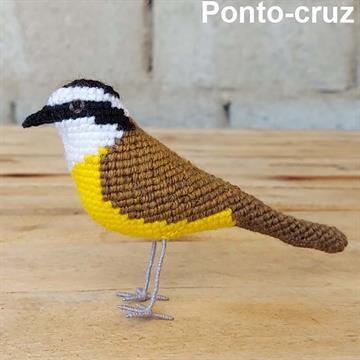 Bem-te-vi - miniatura Pássaros Caparaó ponto-cruz