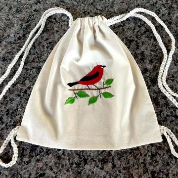Tiê Sangue - Mochila Pequena de Pano - Pássaros Caparaó